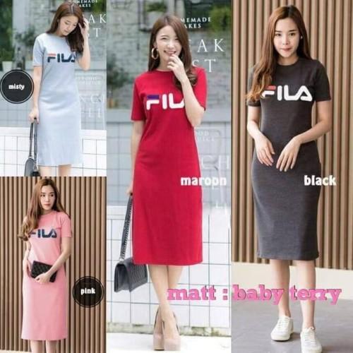 Foto Produk Paling Laku Baju Dress Wanita Dress Fila Long Dress Baju Atasan Wanita dari Bricqie Liu