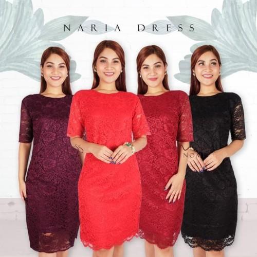 Foto Produk Paling Murah Naria Dress Pesta Wanita Full Brokat / Gaun Pesta Natal dari Bricqie Liu