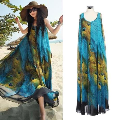 Foto Produk Termurah Dress Sexy Women Summer Boho Long Beach Dress Wanita Murah dari Bricqie Liu