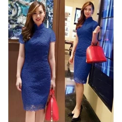 Foto Produk Terlaris Baju Dress Wanita Envy / Eunbi Baju Pesta Brokat - Merah Muda dari Bricqie Liu