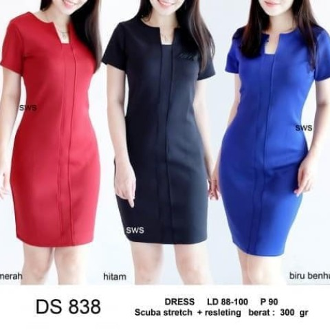 Foto Produk Terlaris Seds838 Dress Kantor Dress Pesta Basic Sepan Stretch Murah - dari Bricqie Liu