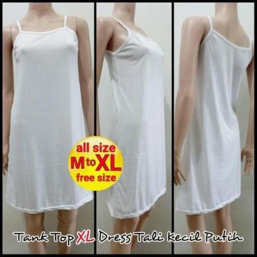 Foto Produk Termurah Tank Top Xl Dress Tali Kecil Putih - Melar | Terusan Inner dari Bricqie Liu