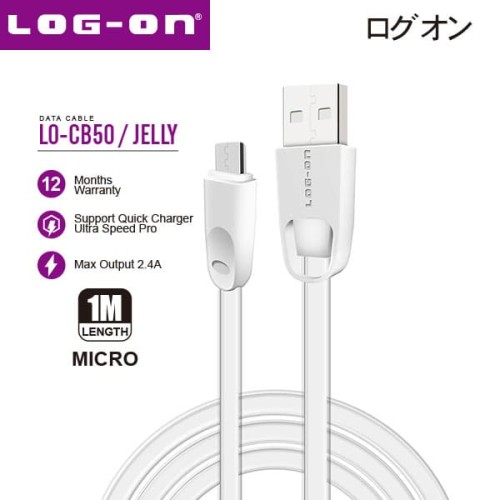 Foto Produk Log On Jelly Kabel data charger MICRO USB Double Layer LO-CB50 - White dari Log-on Official Store