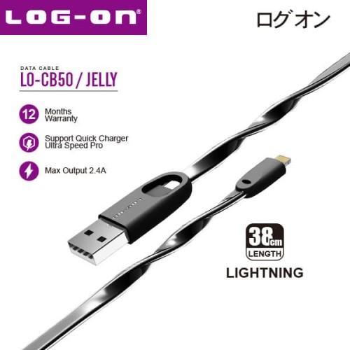 Foto Produk Log On LO-CB50 Kabel Data Charger Lightning Iphone 5 6 7 8 x 38CM 2.4A - Black dari Log-on Official Store