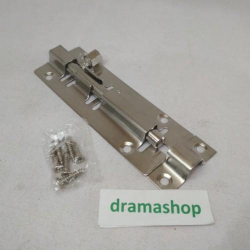 "Foto Produk slot kunci grendel pintu baja stainless steel 4"" 4inch 4 inch dari dramashop"