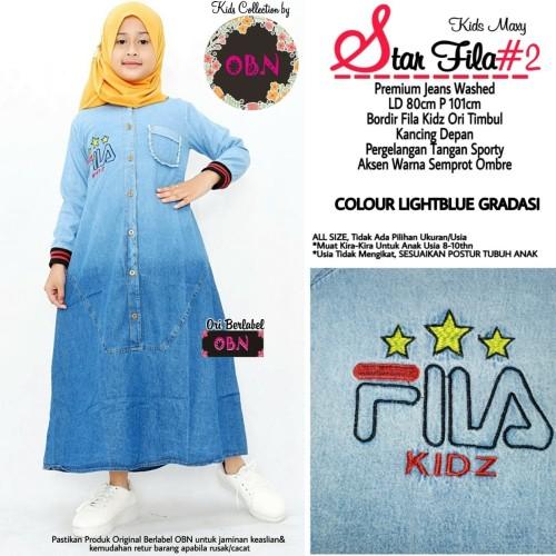 Foto Produk star fila 2 baju gamis anak jeans wanita muslim gaul dari Vivien Collection