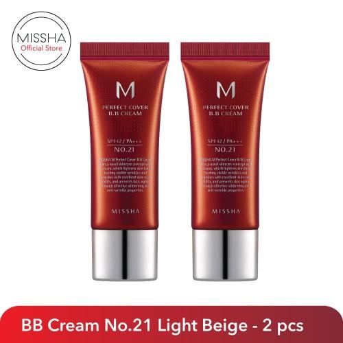 Foto Produk M Perfect Cover BB Cream SPF42/PA+++ (20ml) - 2 pcs - 21 Light Beige dari Missha Indonesia
