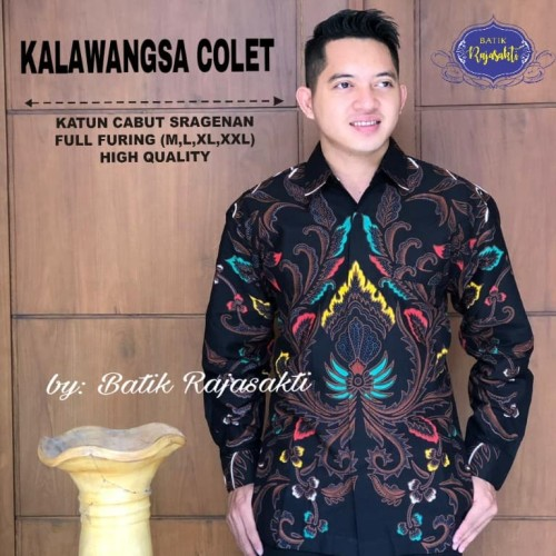 Foto Produk Batik Solo Kemeja Batik Panjang Kalawangsa Colet Rajasakti Batiksolo - M dari Batik Solo Amanah