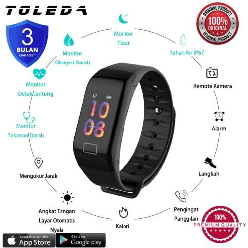Foto Produk TOLEDA SmartBand TLW T1Plus Original 100% SmartWatch - Merah dari Toleda Indonesia