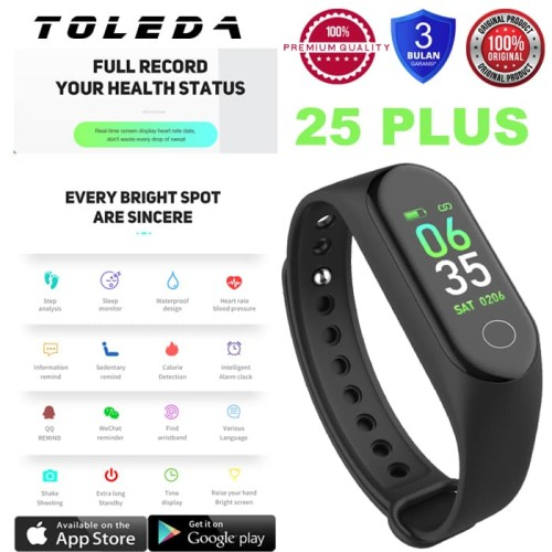 Foto Produk TOLEDA SmartBand TLW 25Plus Original 100% Smartwatch - Hitam dari Toleda Indonesia