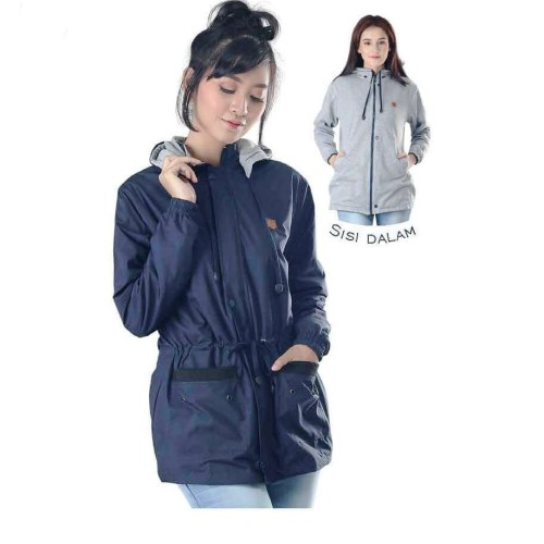 Foto Produk Jaket Parasut Wanita / Jacket Cewek Outwear Hoodies Motor Harian Navy - Navy, M dari RAtwo Collection