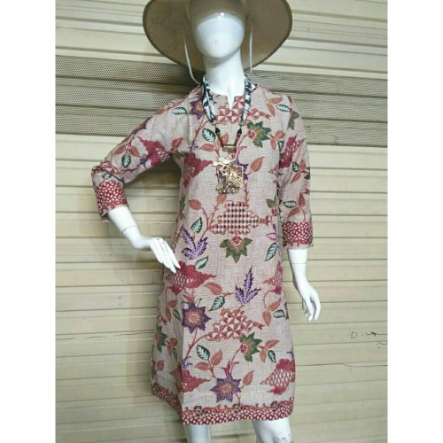 Foto Produk Dress Batik Terusan Wanita Katun Daun Anyam Maroon Cap Etnik - Maroon, XL dari Batik Nisa Colection