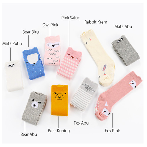 Foto Produk Kaos Kaki Bayi Panjang Motif / Kaos kaki Anak Panjang / Legging Bayi - Pink Salur dari M&K ( Mom & Kids)