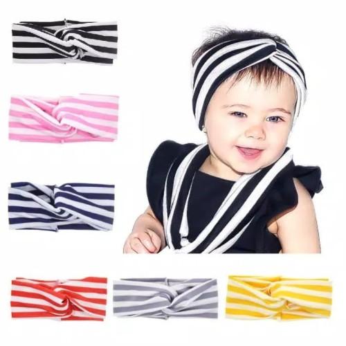 Foto Produk Bandana Turban Bayi Anak / Bando Anak Bayi | Baby Headband Silang - abu dari M&K ( Mom & Kids)