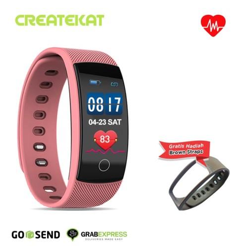 Foto Produk Createkat Smartwatch Pemantau Denyut Jantung 24Jam Smart Band Katfit1 - Merah Muda dari CreateKat