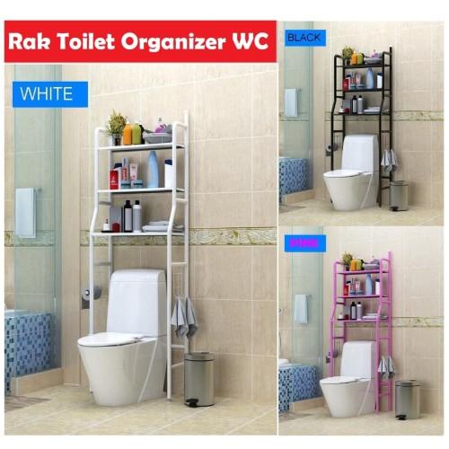 Foto Produk X90 Rak Toilet Organizer WC Tissue sabun Kloset Kamar Mandi 165x50x26 - Putih dari nippon shop