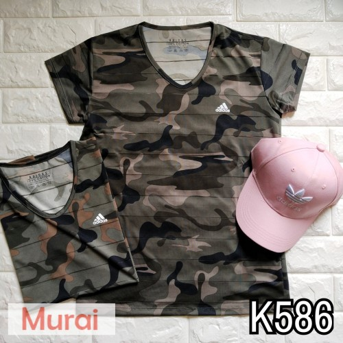 Foto Produk K586 - Kaos / Tumblr Tee / T-Shirt Wanita / Cewek Army Adidas LK dari Murai Tebas