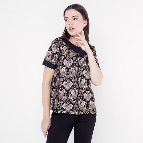 Foto Produk Atasan Batik Wanita - FBW Erina Stack Collar Batik Kembang - Cokelat, L dari FBW Official Shop