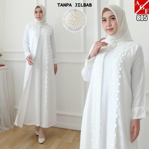 Foto Produk Baju Gamis Wanita / Gamis Jumbo / Gamis Putih / Baju Muslim #805 JMB - Putih, 3L dari Agnes Fashion88