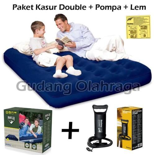 "Foto Produk Paket Kasur Angin Double Bestway 67002 + Pompa Tabung 12"" dari Gudang Olahraga"
