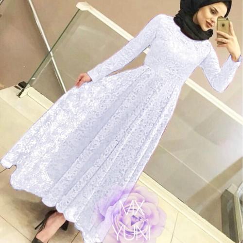Foto Produk MAXI YUNI BRUKAT PUTIH [Hijab 0121] SC9 Baju Gamis Wanita Terbaru dari Super Model