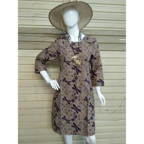 Foto Produk Dress Batik Terusan Wanita Katun Capung Ungu Cap Etnik - Ungu, XXL dari Batik Nisa Colection