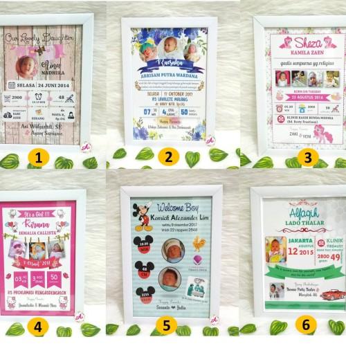 Foto Produk Pajangan l Hiasan Dinding l Kado Poster: Biodata Bayi 32 dari ai_decor