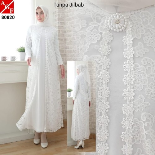 Foto Produk Baju Gamis Wanita / Gamis Jumbo / Muslim Putih #80820 JMB - Putih, 3L dari Agnes Fashion88
