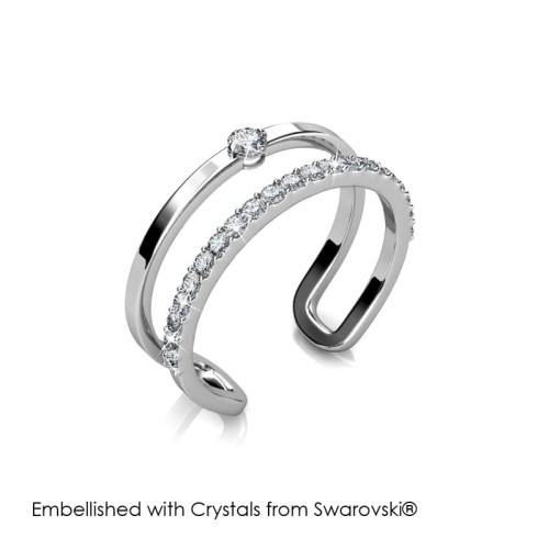 Foto Produk Stylish Ring - Cincin Crystals Swarovski® by Her Jewellery - White Gold, 8 dari Her Jewellery