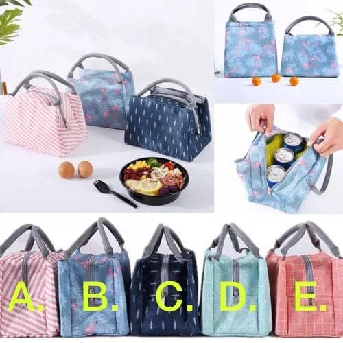 Foto Produk Lunch bag Korean -Tas Bag Penahan Dingin Panas Korea Anak Cooler bag - Biru Flamingo dari Lalulaku