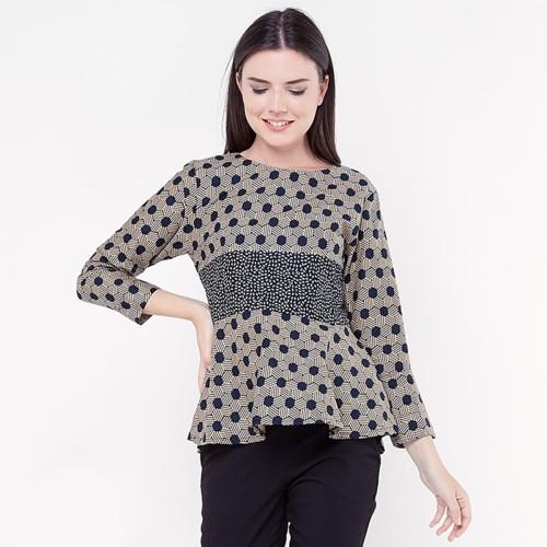 Foto Produk Blouse Batik Wanita - FBW Yarra Peplum Batik Blouse Klasa - Hitam, L dari FBW Official Shop
