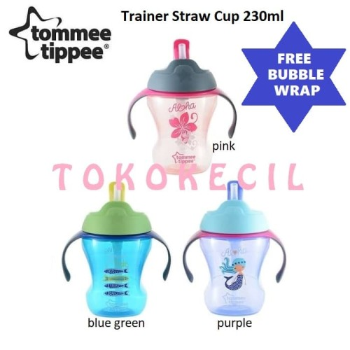 Foto Produk Tommee Tippee Trainer Straw Cup gelas minum bayi training 9M+ 230ml - Purple dari Tokokecil