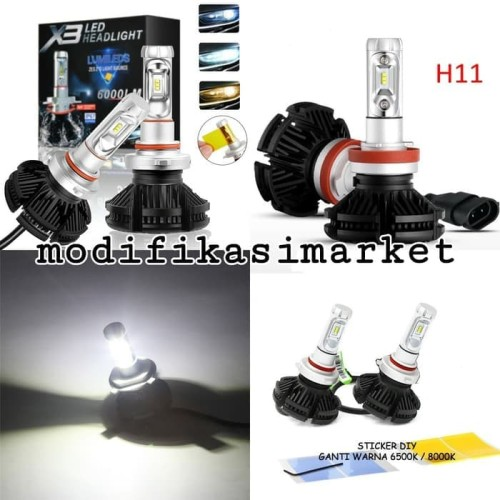 Foto Produk Lampu mobil LED X3 H11 SINGLE LED HIGH QUALITY dari Modifikasi Market