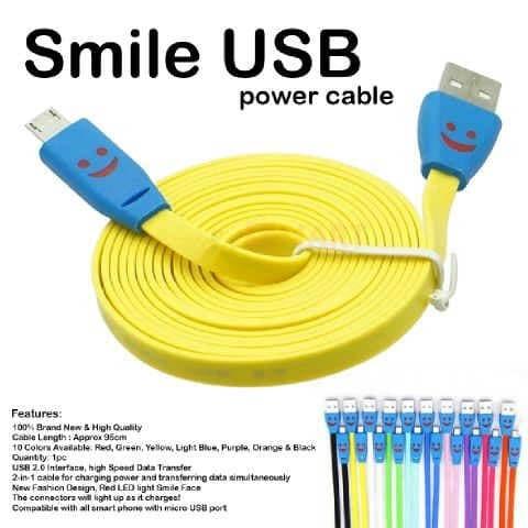 Foto Produk 2 METER KABEL DATA / CABLE CHARGER LED MICRO USB / SMILE FOR ANDROID dari juragan kado