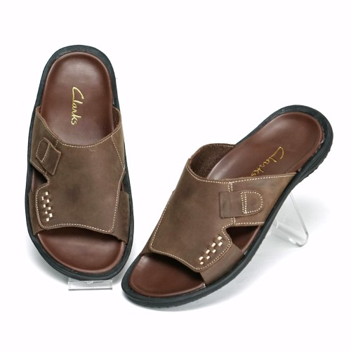 Foto Produk Sandal Slop Pria Kulit Asli Sendal Flip Flop Casual Classic S94 - Cokelat, 43 dari FORDZA Shop