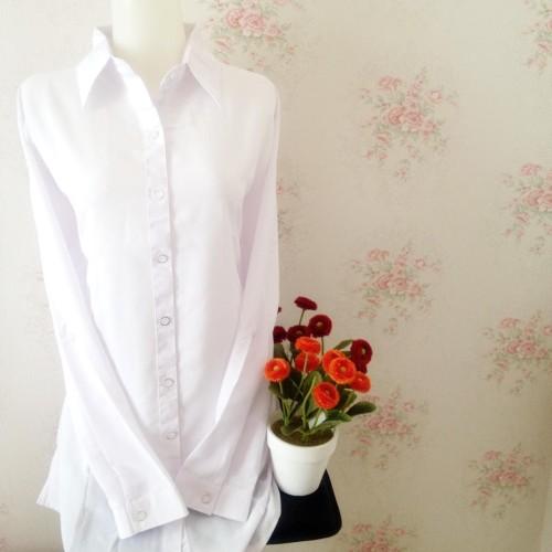 Foto Produk Kemeja blus wanita putih polos silk tosibo japan body panjang dari Orlenachang