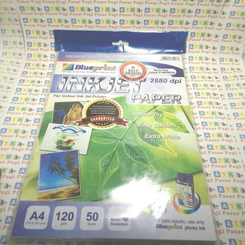 Foto Produk inkjet paper blue print 2880 dpi A4 120 gram ( 50 lbr) dari ATK Pasar Pagi
