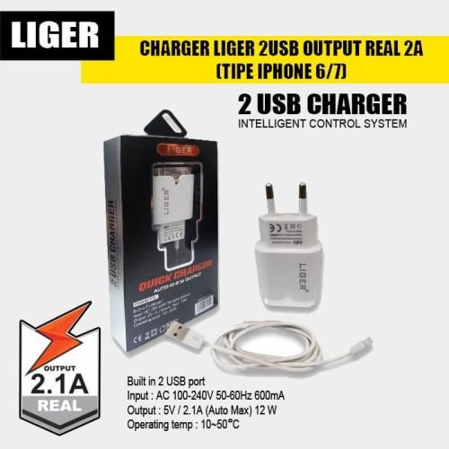 Foto Produk CHARGER LIGER 2USB OUTPUT REAL 2A (TIPE IPHONE 6/7) dari LIGER OFFICIAL STORE