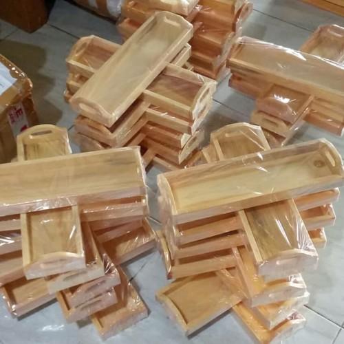 Foto Produk Baki Kayu / Nampan Kayu / Tray Kayu Pinus Mini Serbaguna 32 x 10 x 3 dari el_artgallery
