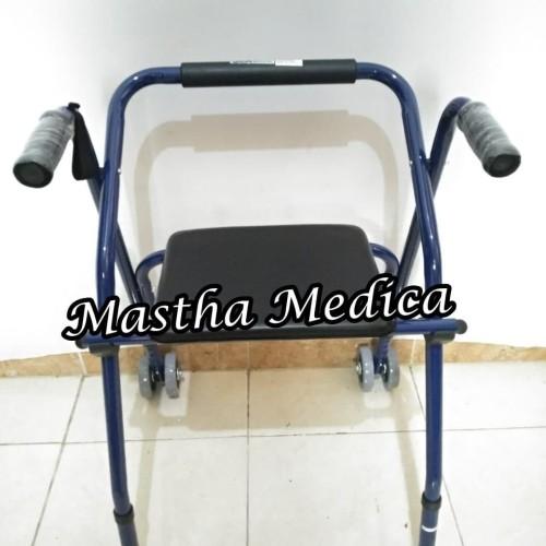 Foto Produk Rollator Rolator Beroda Walker Roda Tempat Kursi Duduk +Tongkat Jalan dari Mastha Medica Jakarta