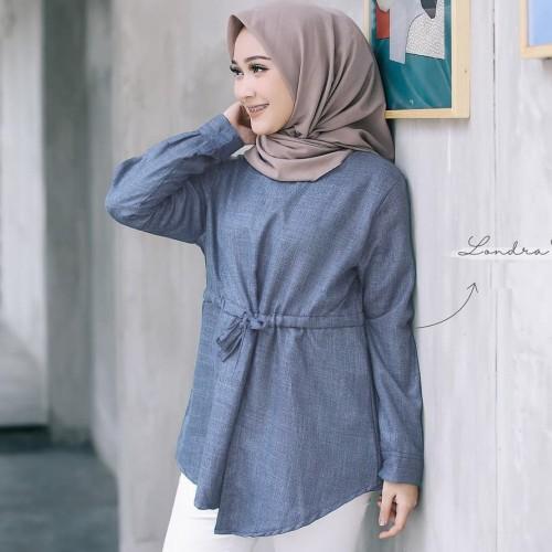 Foto Produk Baju Atasan Wanita / Baju Muslim / Blus Muslim / LONDRA TOP BLOUSE - BLUE dari look180