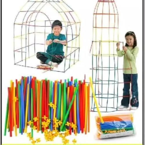 Foto Produk Mainan Edukasi Anak / Mainan bangunan 4 Dimensi Magic Straw 100 Pcs dari Rumah Susun