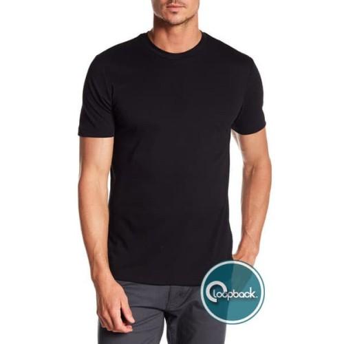 Foto Produk Kaos Polos Pria O Neck - T-Shirt Polos Katun Spandek / Cotton Spandex - Hitam, L dari Loopback Shop