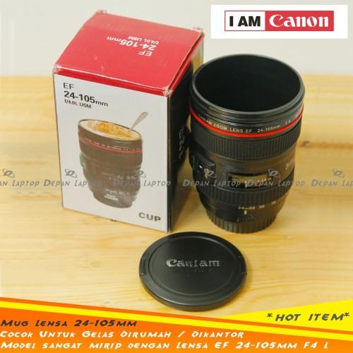 Foto Produk Mug Gelas Plastik Lensa Kamera 400ml Mirip Canon 24-105mm F4 Murah dari depanlaptop