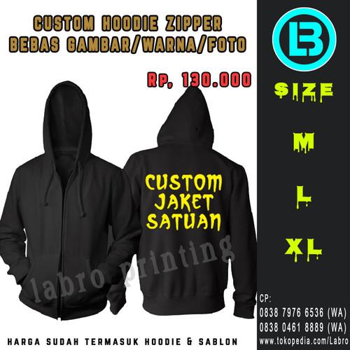 Foto Produk Sablon Jaket Hoodie Zipper Custom bebas warna satu sisi - L, Hitam dari LABRO PRINTING