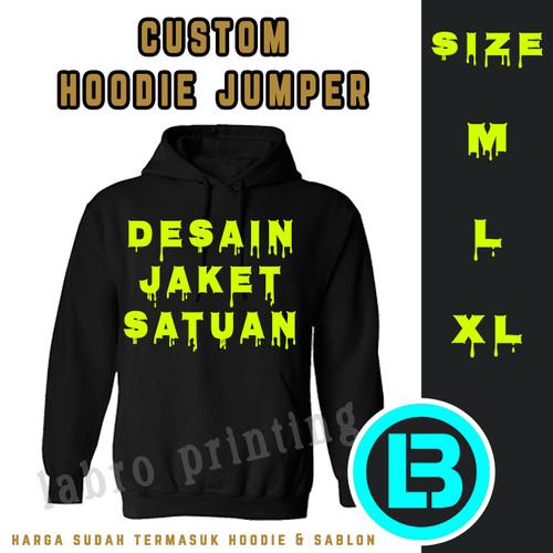 Foto Produk Sablon Jaket Hoodie Custom tulisan 1 Warna 1 Sisi - Hitam, M dari LABRO PRINTING