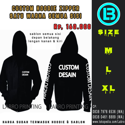 Foto Produk Sablon Hoodie Zipper Custom Murah Depan Belakang & Lengan - Hitam, M dari LABRO PRINTING