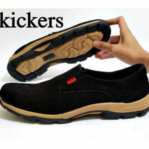 Foto Produk Sepatu Kickers Slip On Pria Kulit Asli Suede Slop loafers Murah Hitam dari kangubedshoes