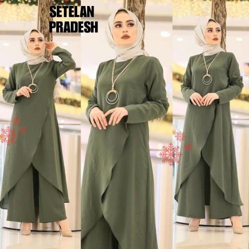 Foto Produk STELAN PRADESH HIJAU ARMY [Hijab 0100] SDK Baju Gamis Wanita Terbaru dari Super Model