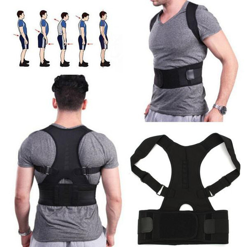 Foto Produk Penyangga Punggung Shoulder Back Support Belt Posture Corrector Korset - Hitam XL dari lbagstore